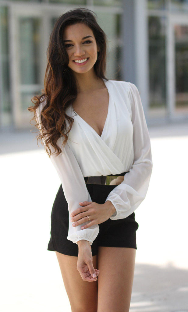 black and white special occasion romper