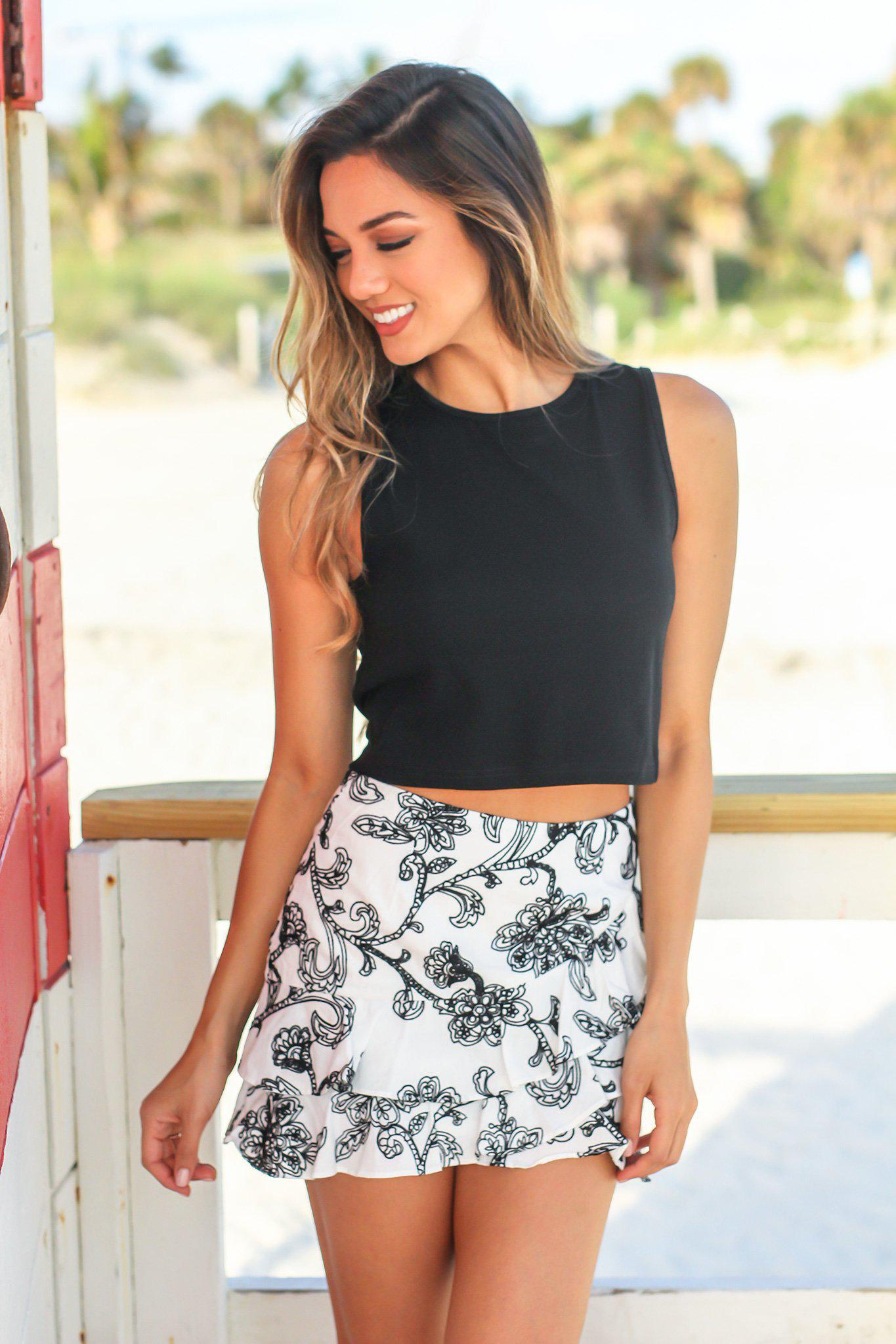 Black and White Ruffle Mini Skirt