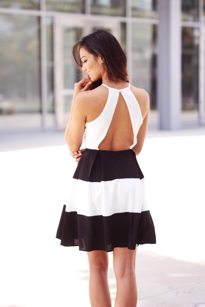 black and white open back dress