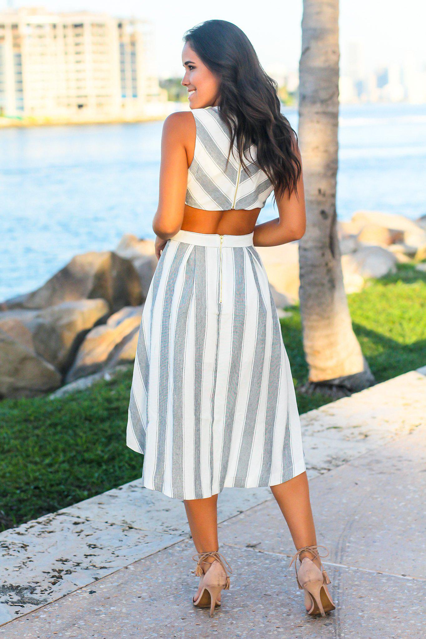 Black and White Striped High Low Dress