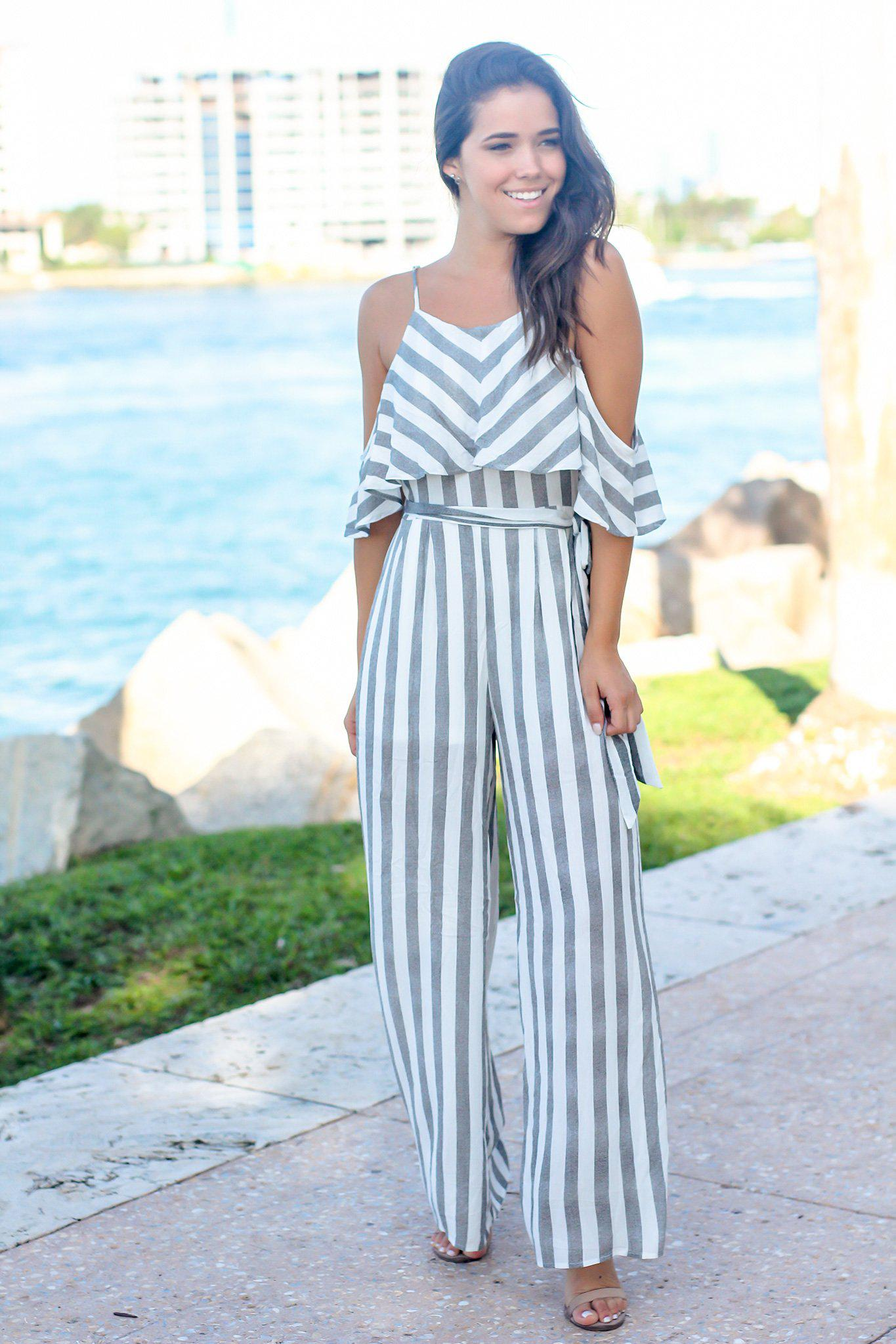 374d07aac87a Black and White Striped Open Shoulder Jumpsuit