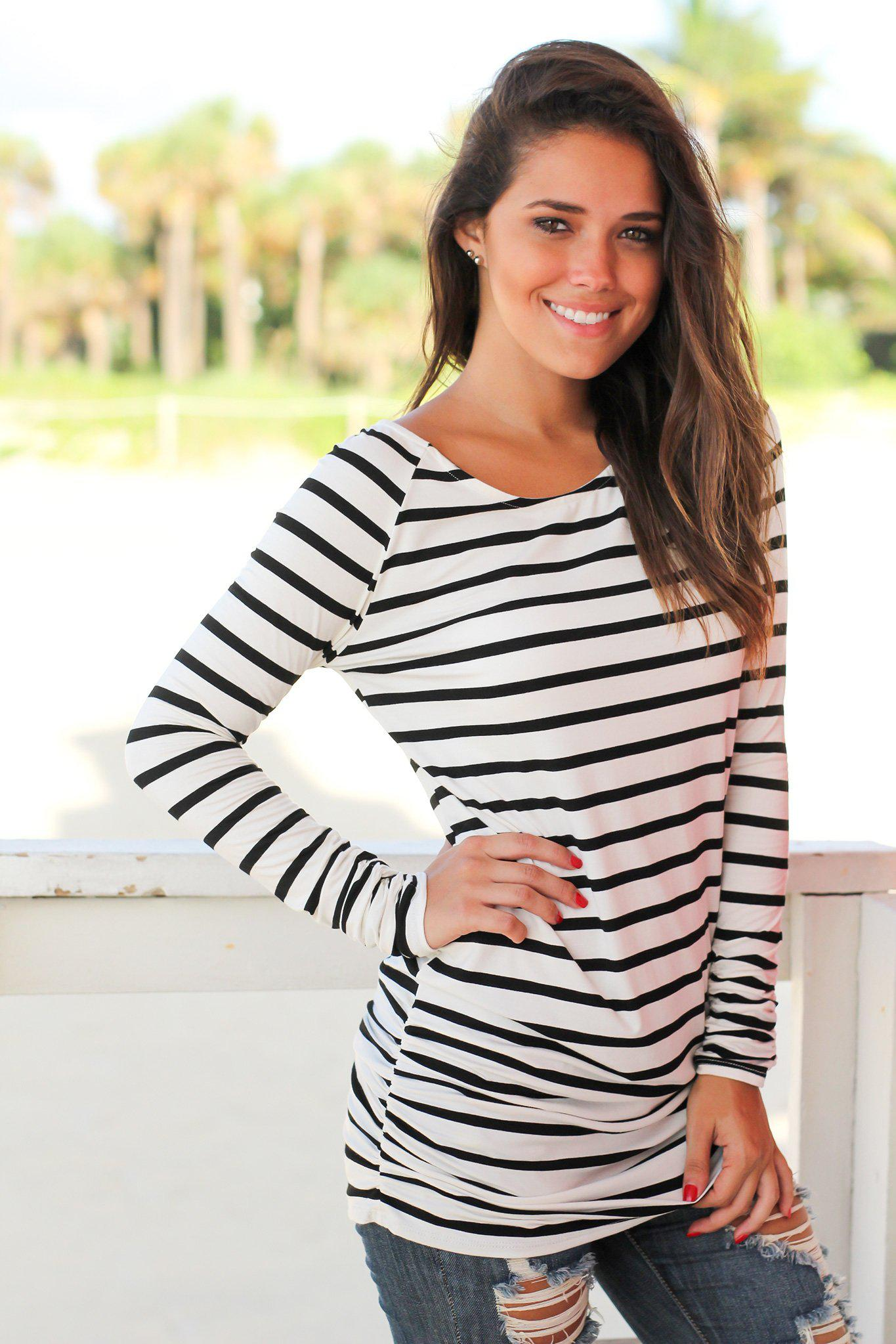 Black and White Striped Ruched Tunic