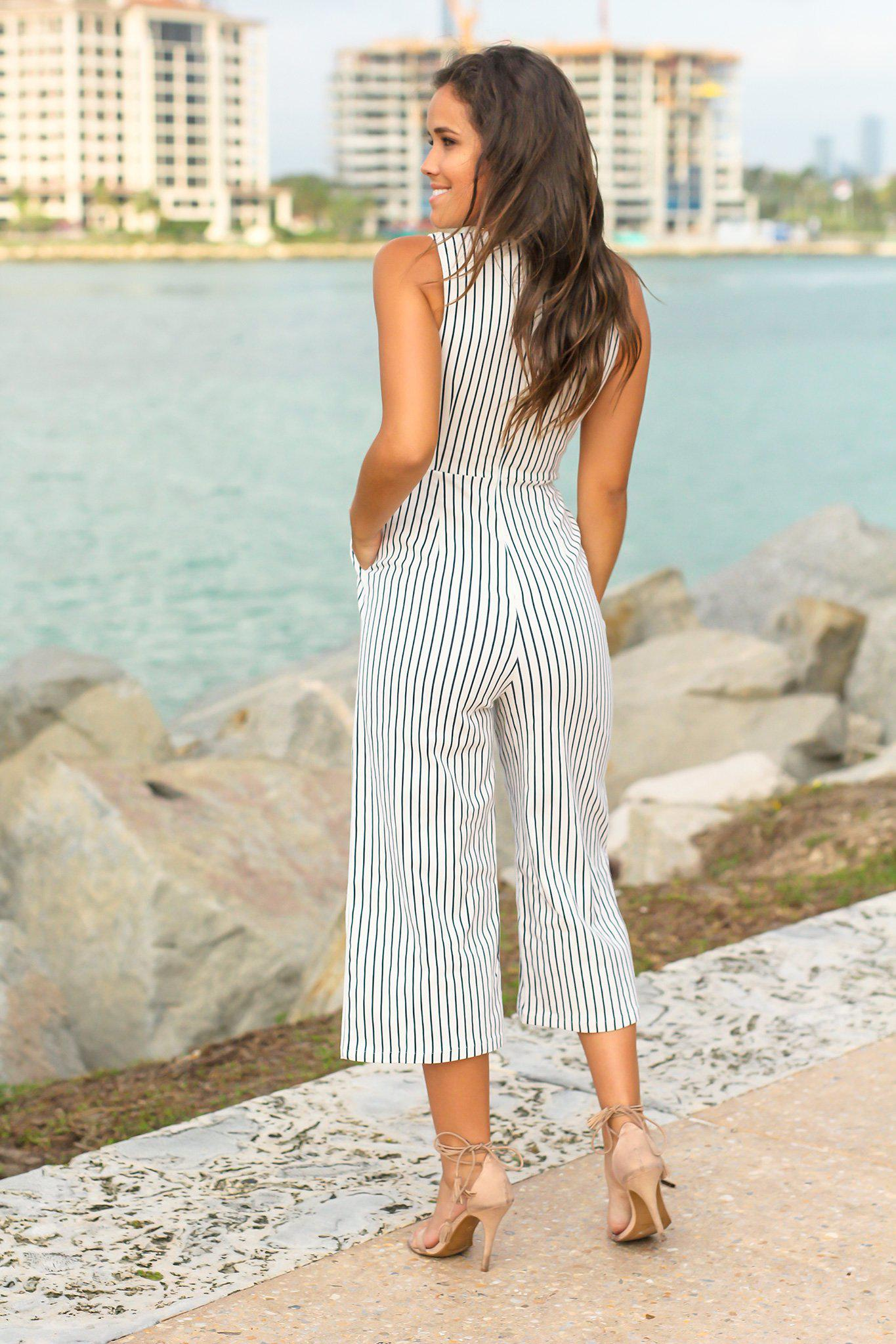 Black and White V-Neck Striped Jumpsuit