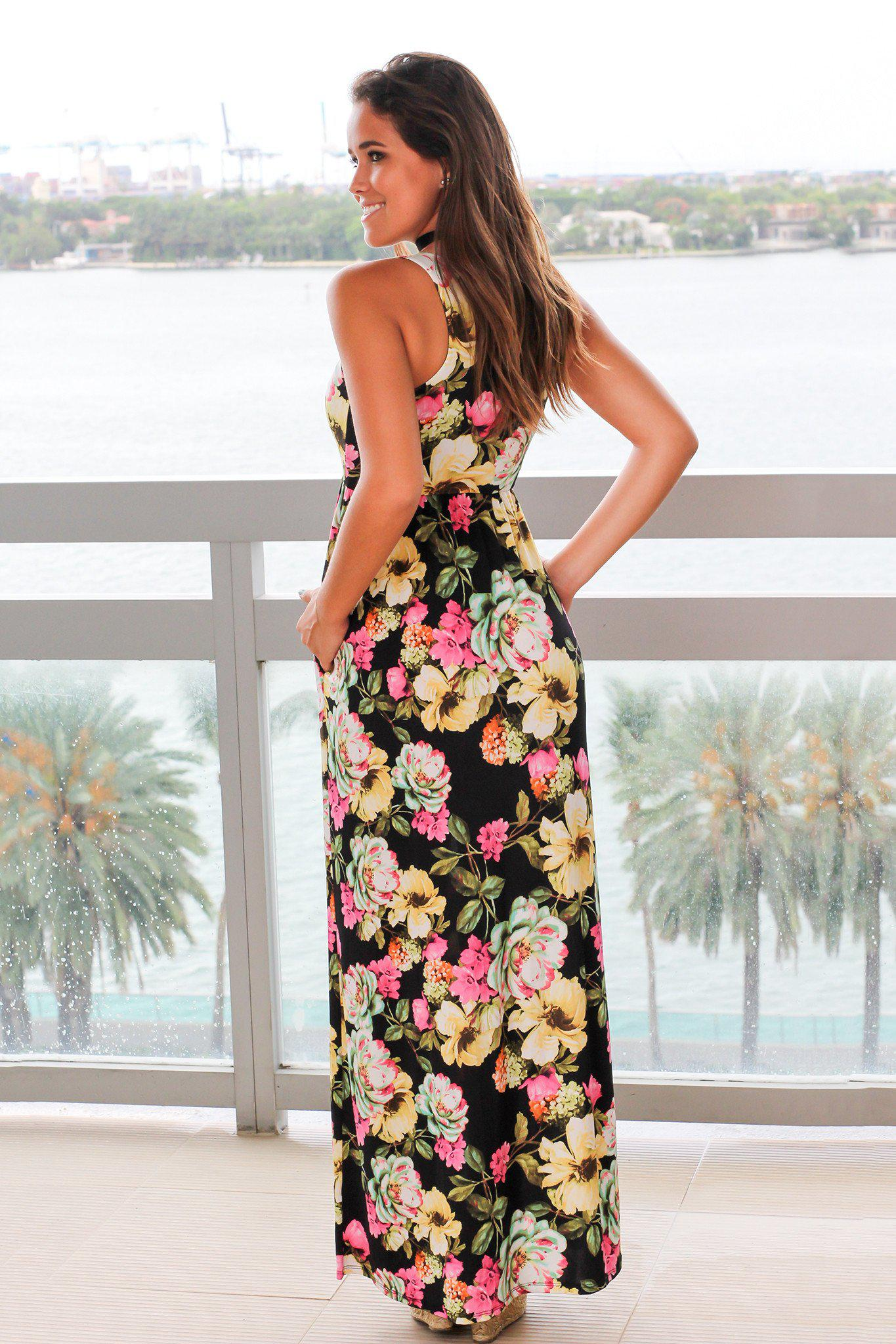 Black and Yellow Floral Maxi Dress