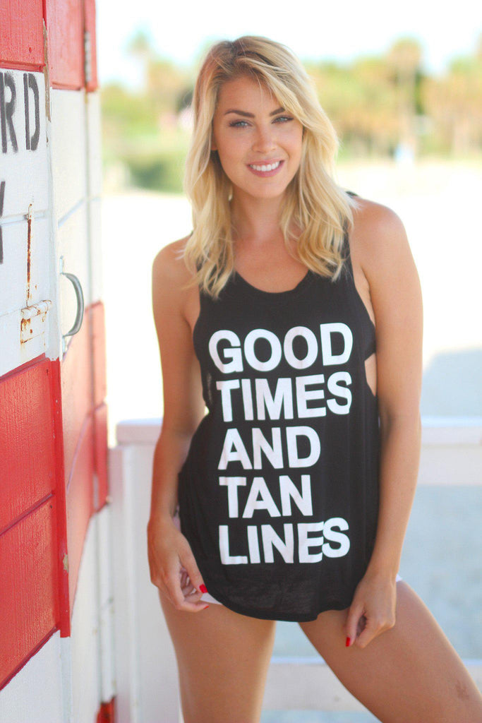 """good times and tan lines"" black tank top 76"