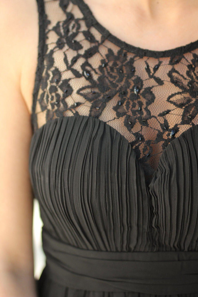 black lace long dress