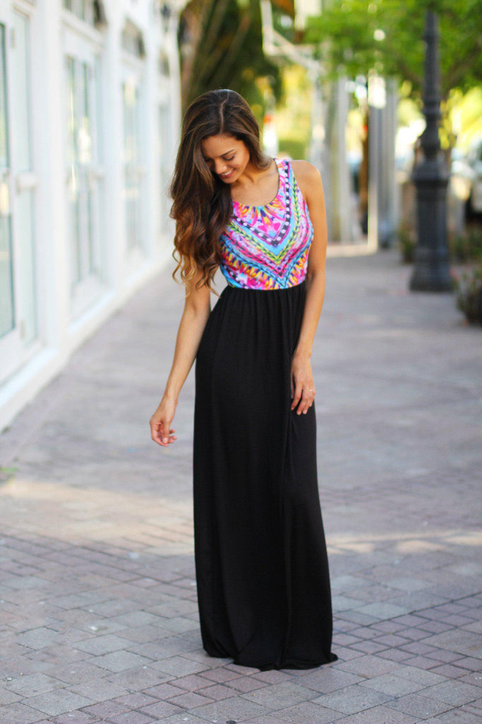black tribal top maxi dress
