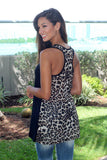 black tunic top with leopard back