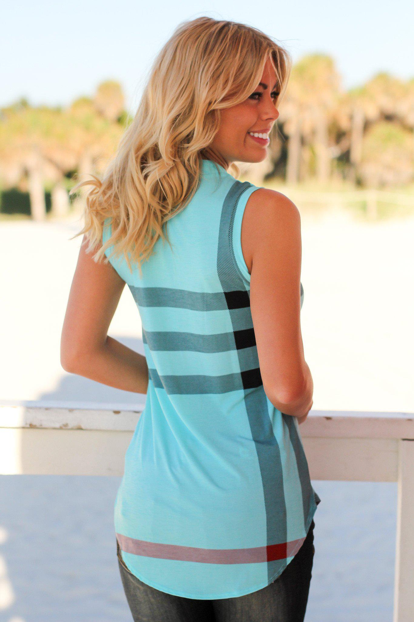 Blue Check Print Sleeveless Top