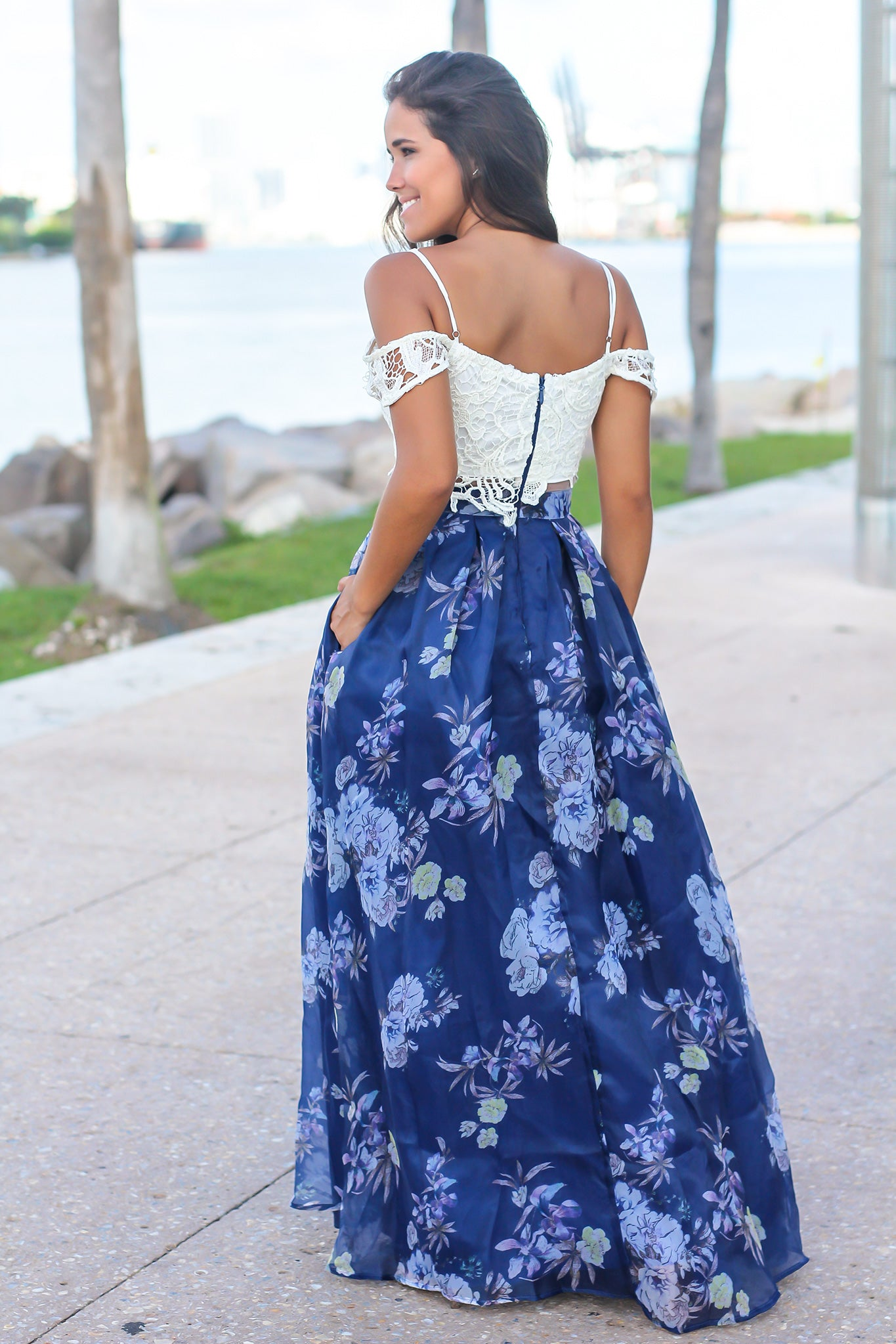 Blue Crochet Top Floral Maxi Dress