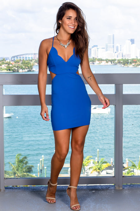 Blue Cut Out Short Dress with Scalloped Neck