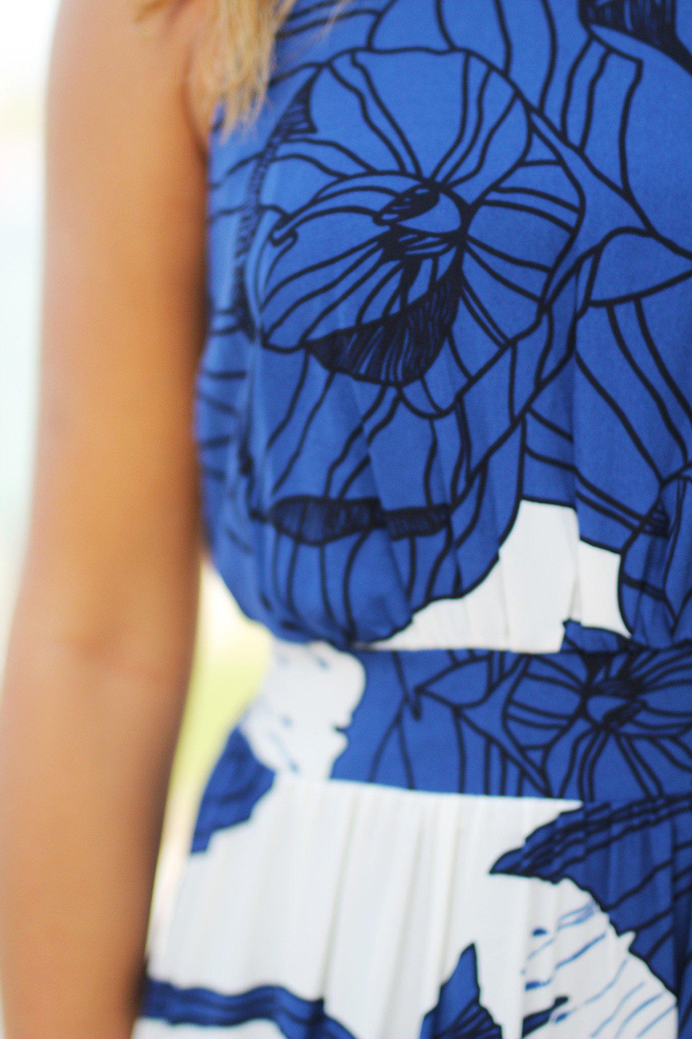 Dark Blue Floral Maxi Dress