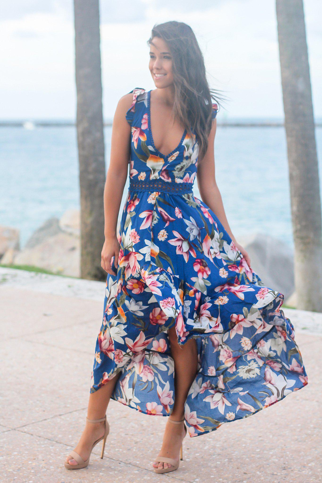 f4d62fd8119 Navy Floral High Low Dress with Crochet Open Back Detail