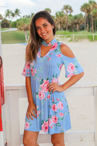 Blue Floral Mock Neck Open Shoulder Short Dress