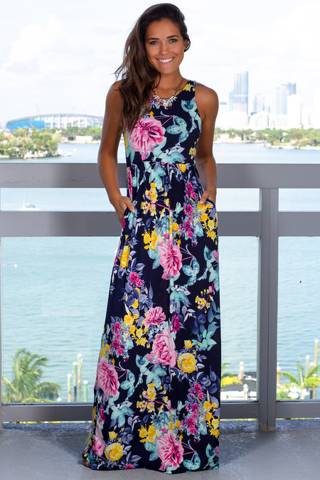 Blue Floral Printed Maxi Dress with Pockets