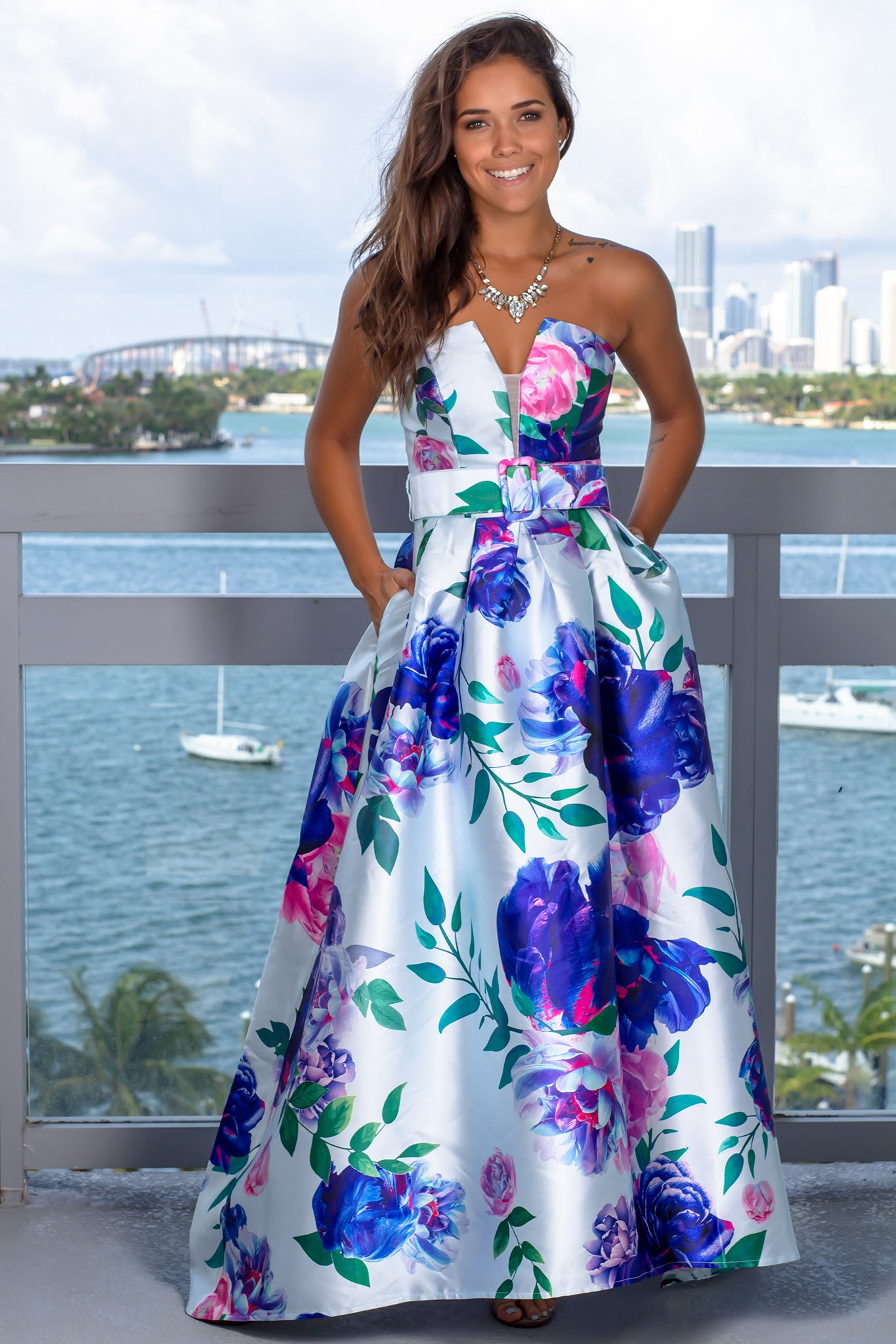 a0ff744658 Blue Floral Strapless Maxi Dress with Belt | Maxi Dresses – Saved by the  Dress
