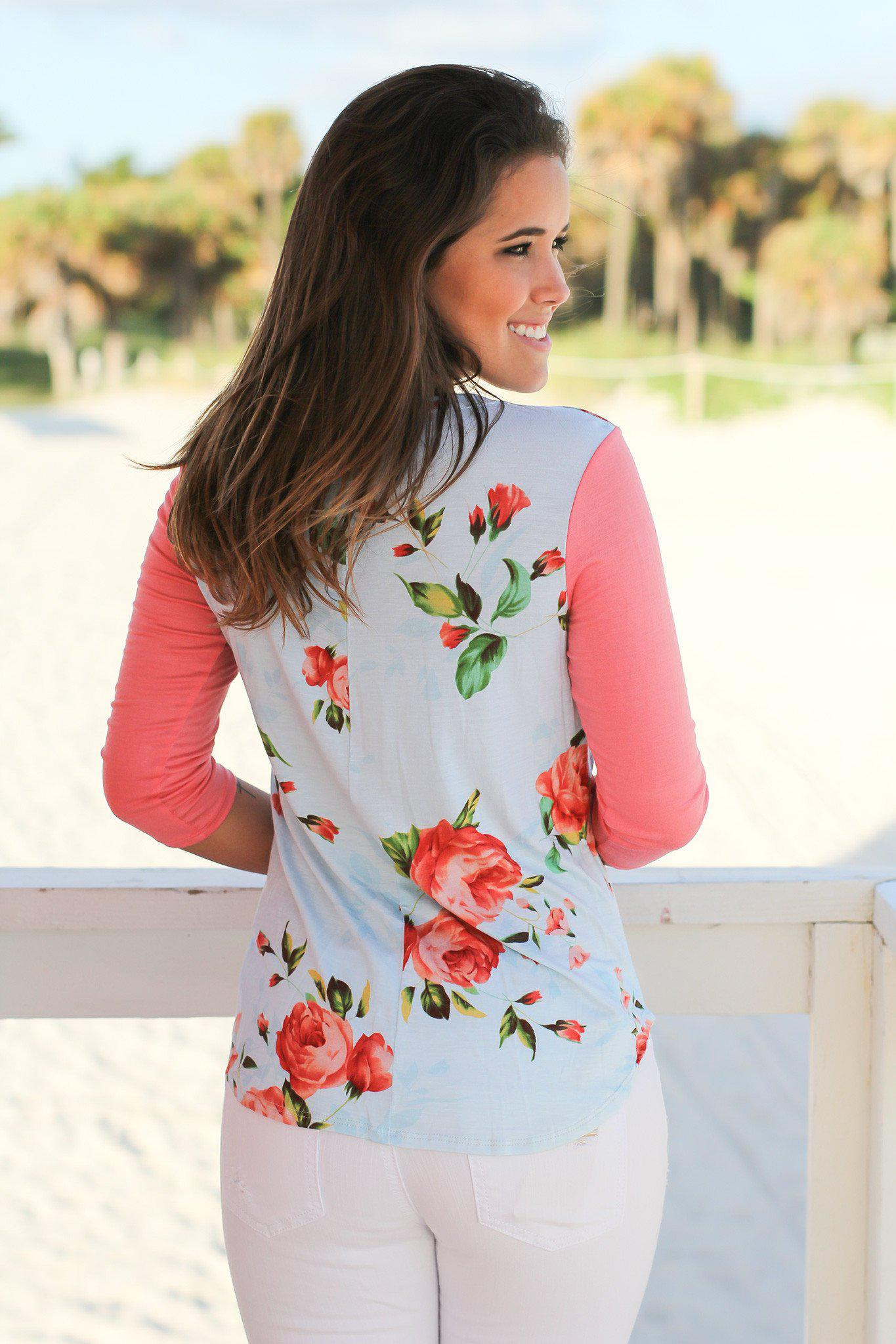 Blue Floral Top with Coral Sleeves