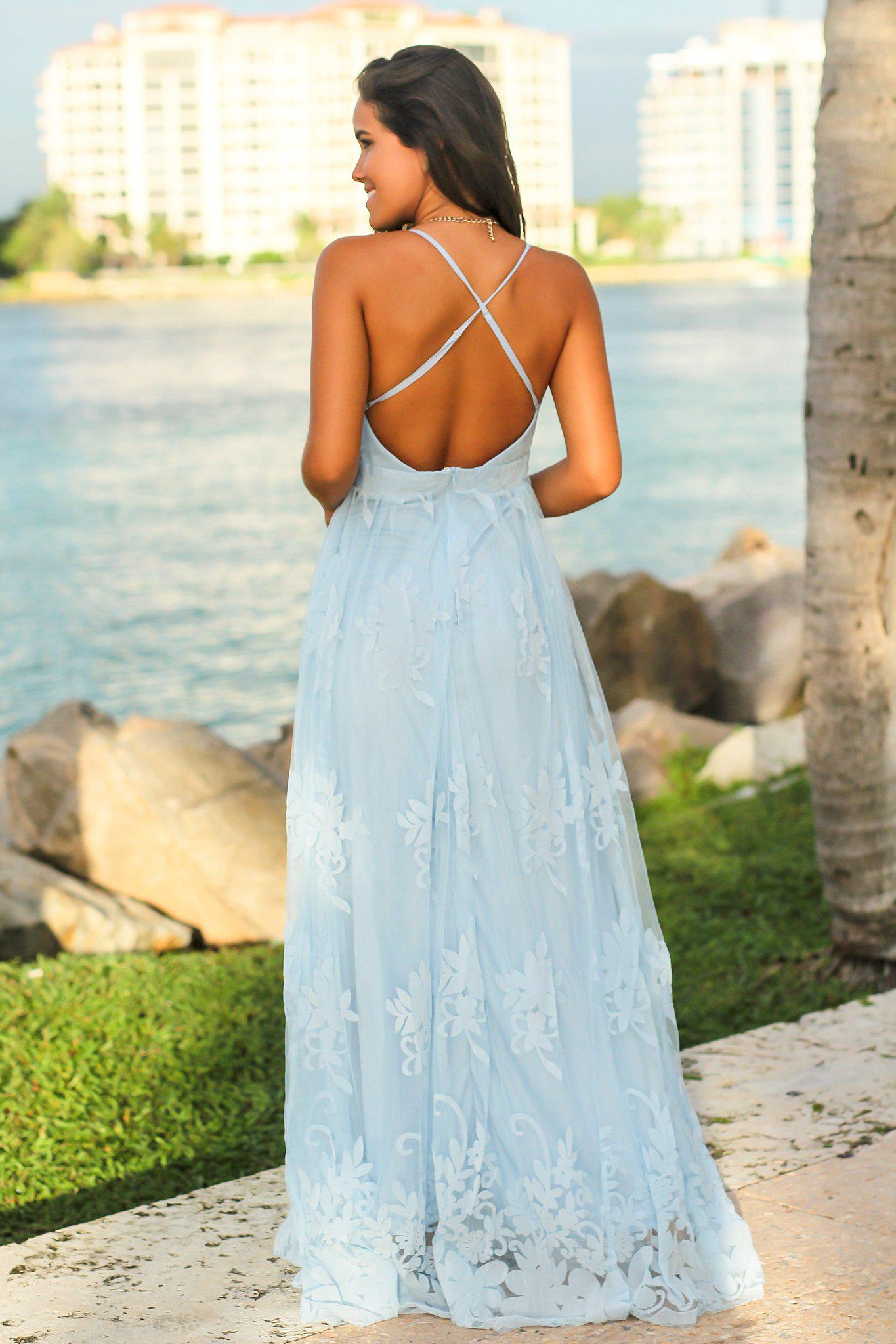 Blue Floral Tulle Maxi Dress with Criss Cross Back