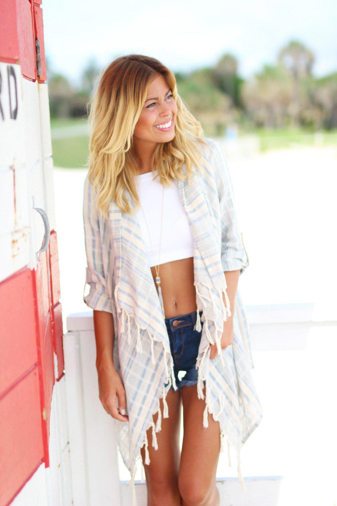 light blue fringe cardigan