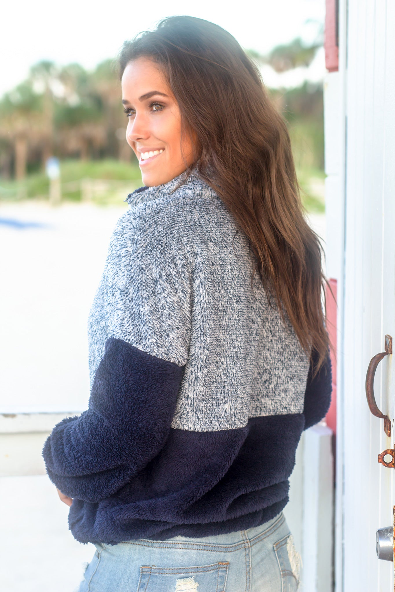 Navy Fuzzy Pullover Sweater