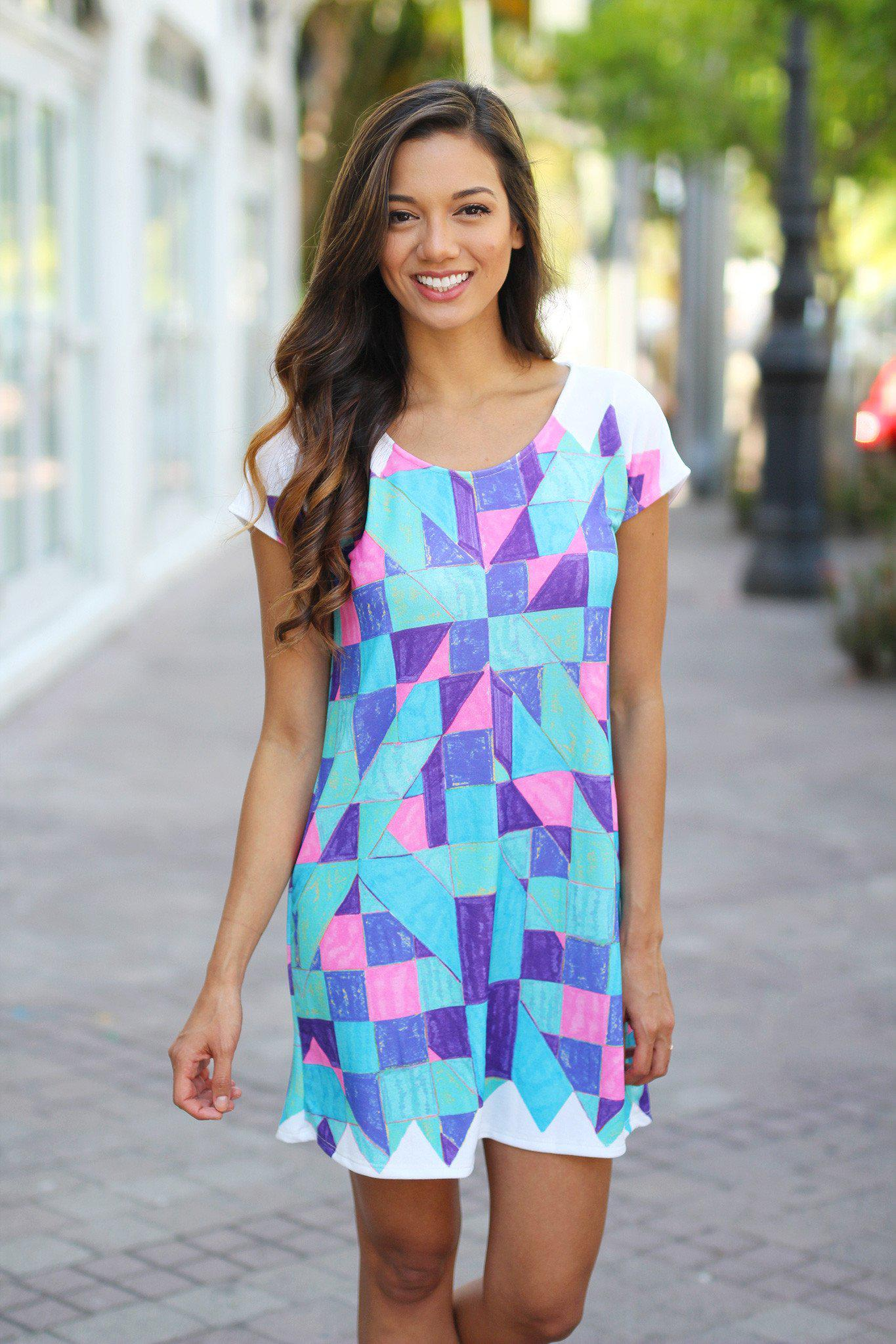 Blue Geometric Short Dress