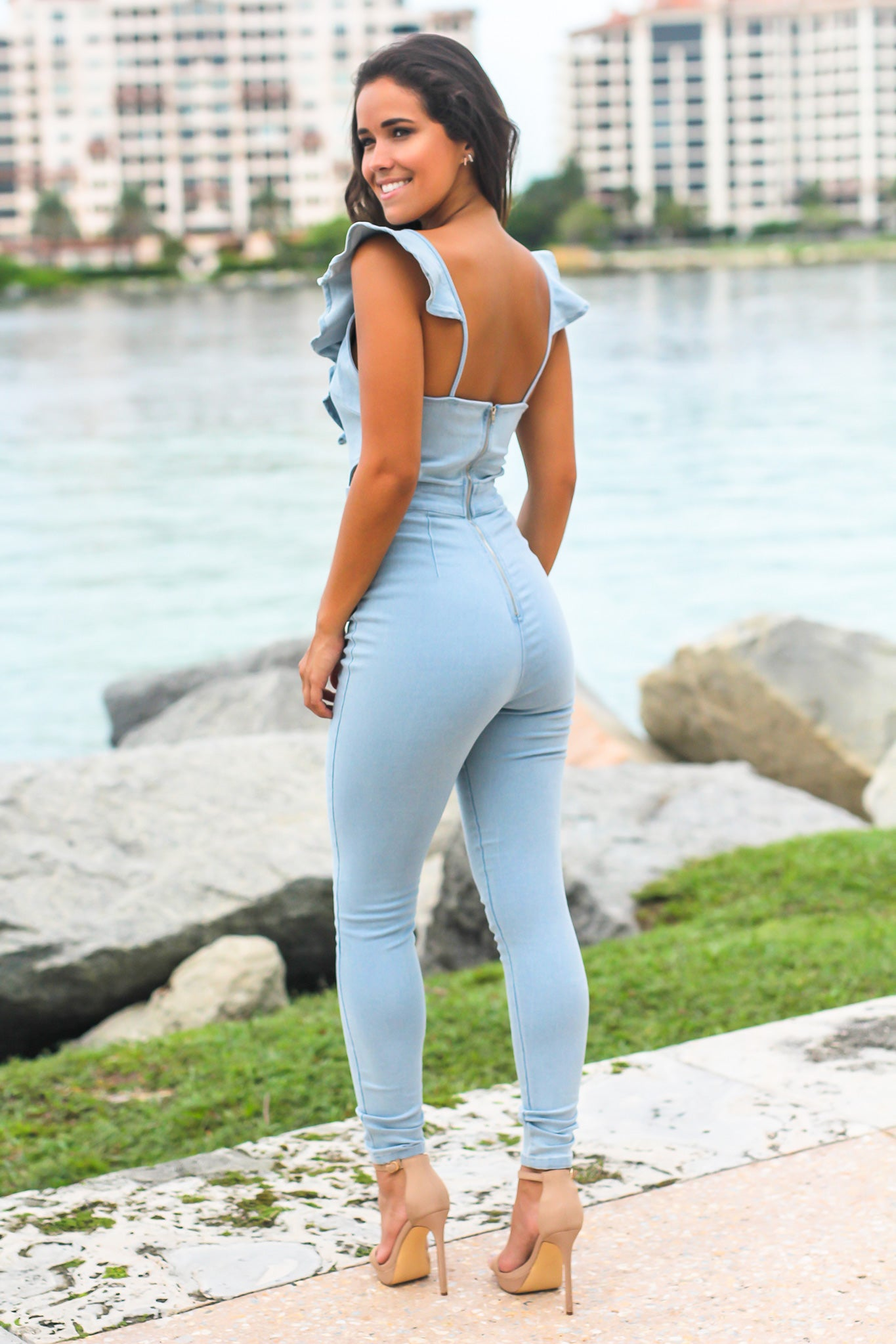 Blue Jumpsuit with Ruffle Detail