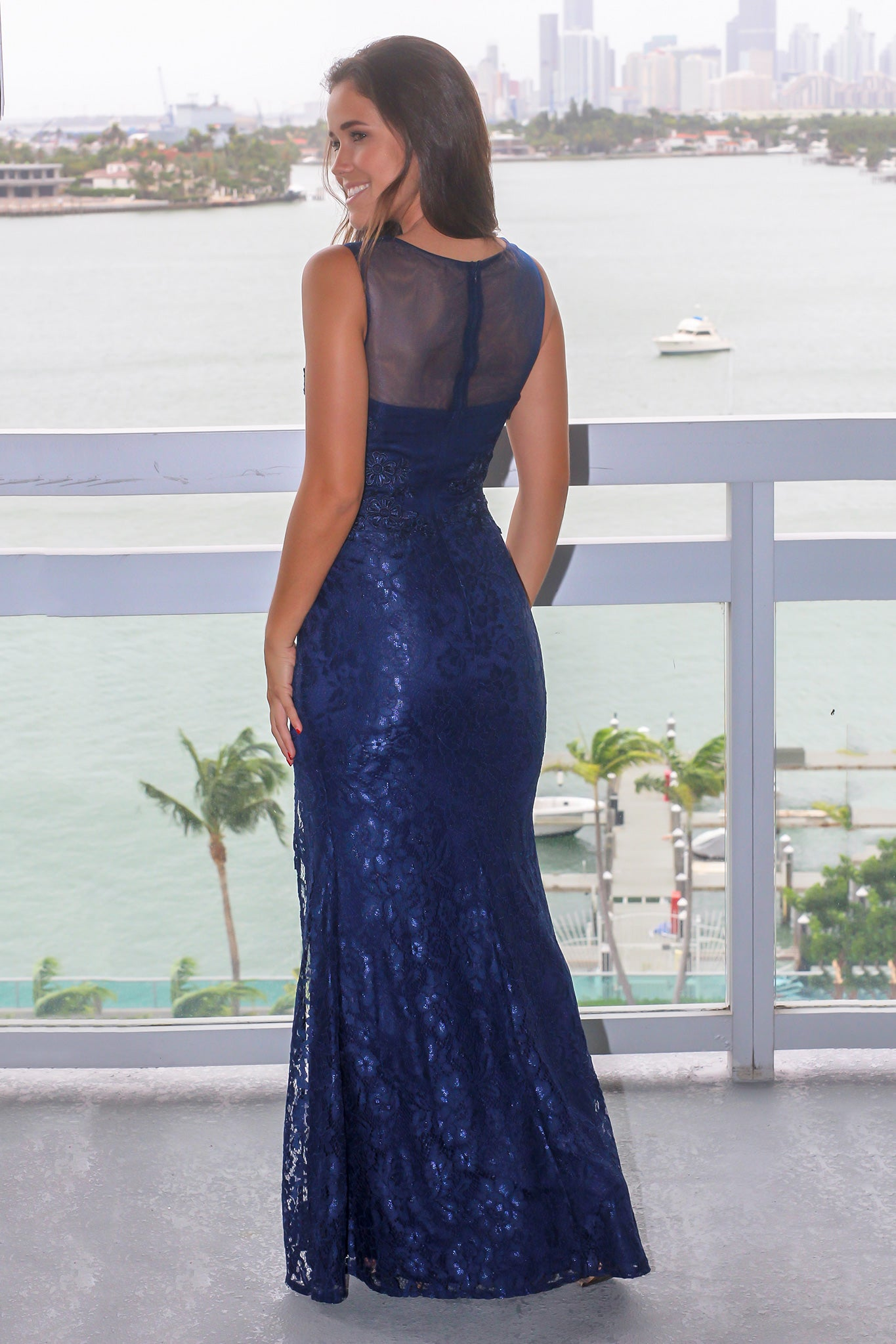 Blue Lace Maxi Dress with Mesh Detail and Side Slit