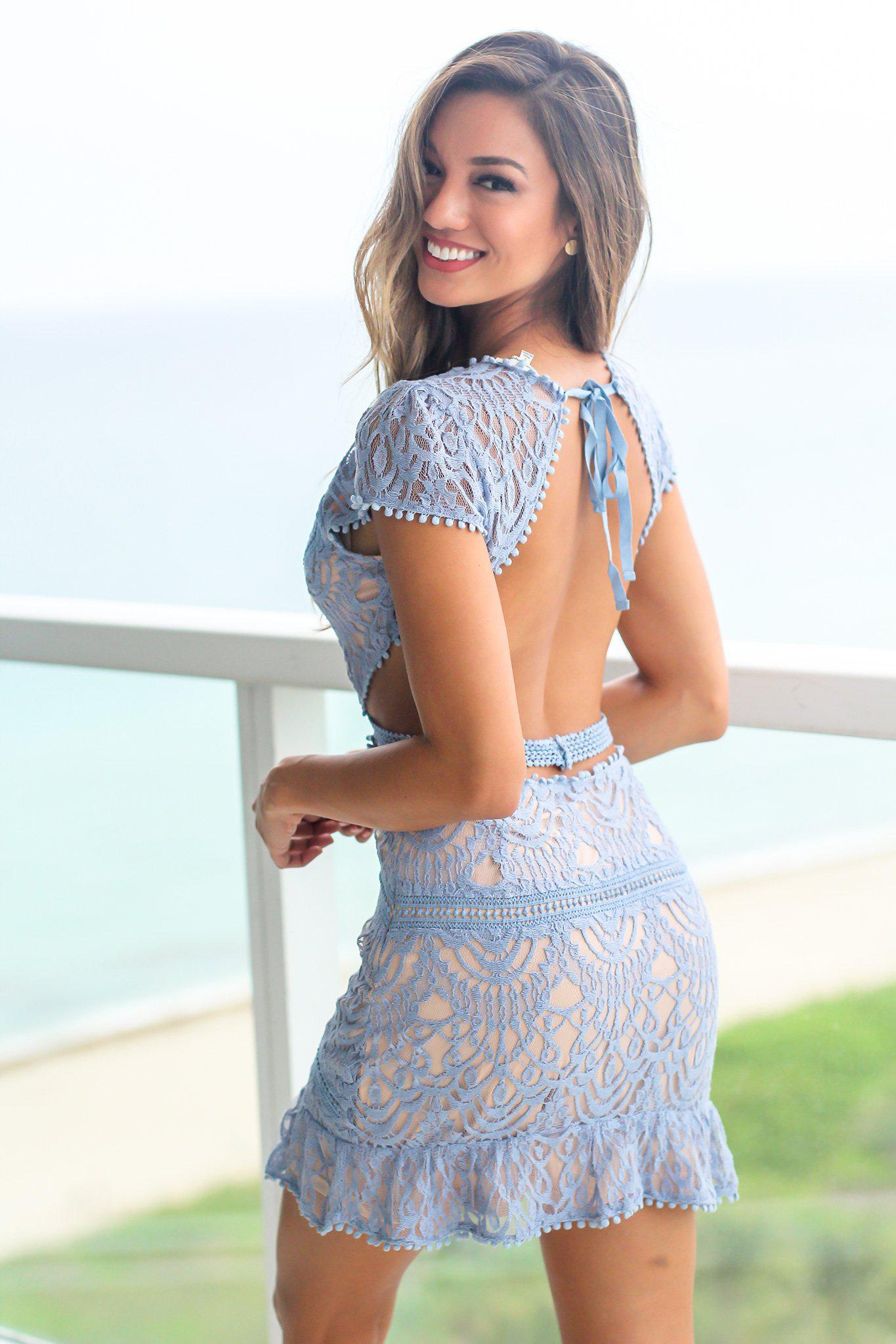 Blue Lace Short Dress with Open Back