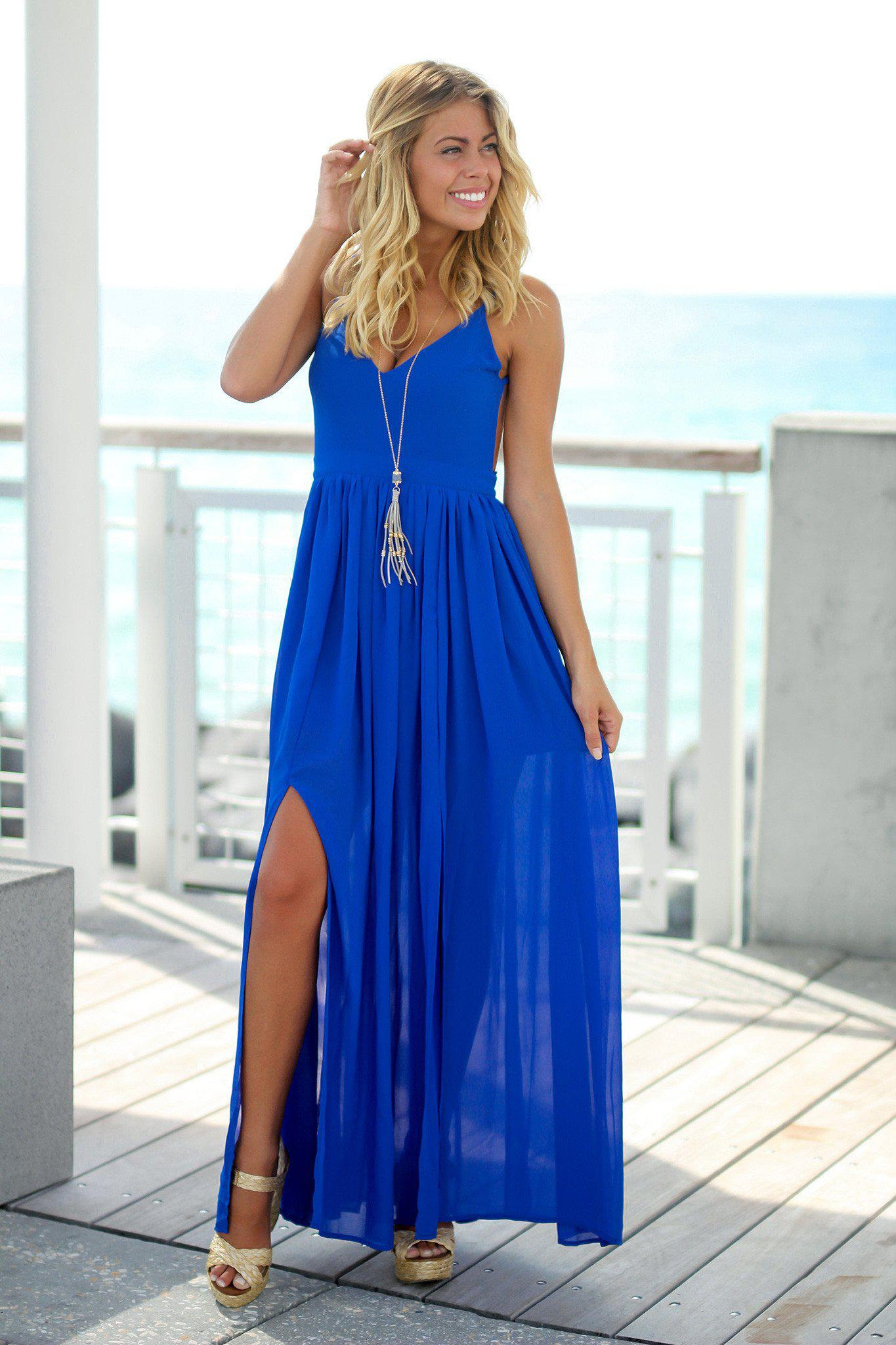 4e49ee415a6f Royal Blue Maxi Dress with Open Back
