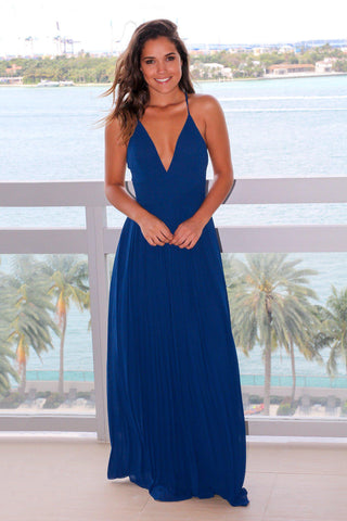 Blue Pleated Maxi Dress with Criss Cross Back