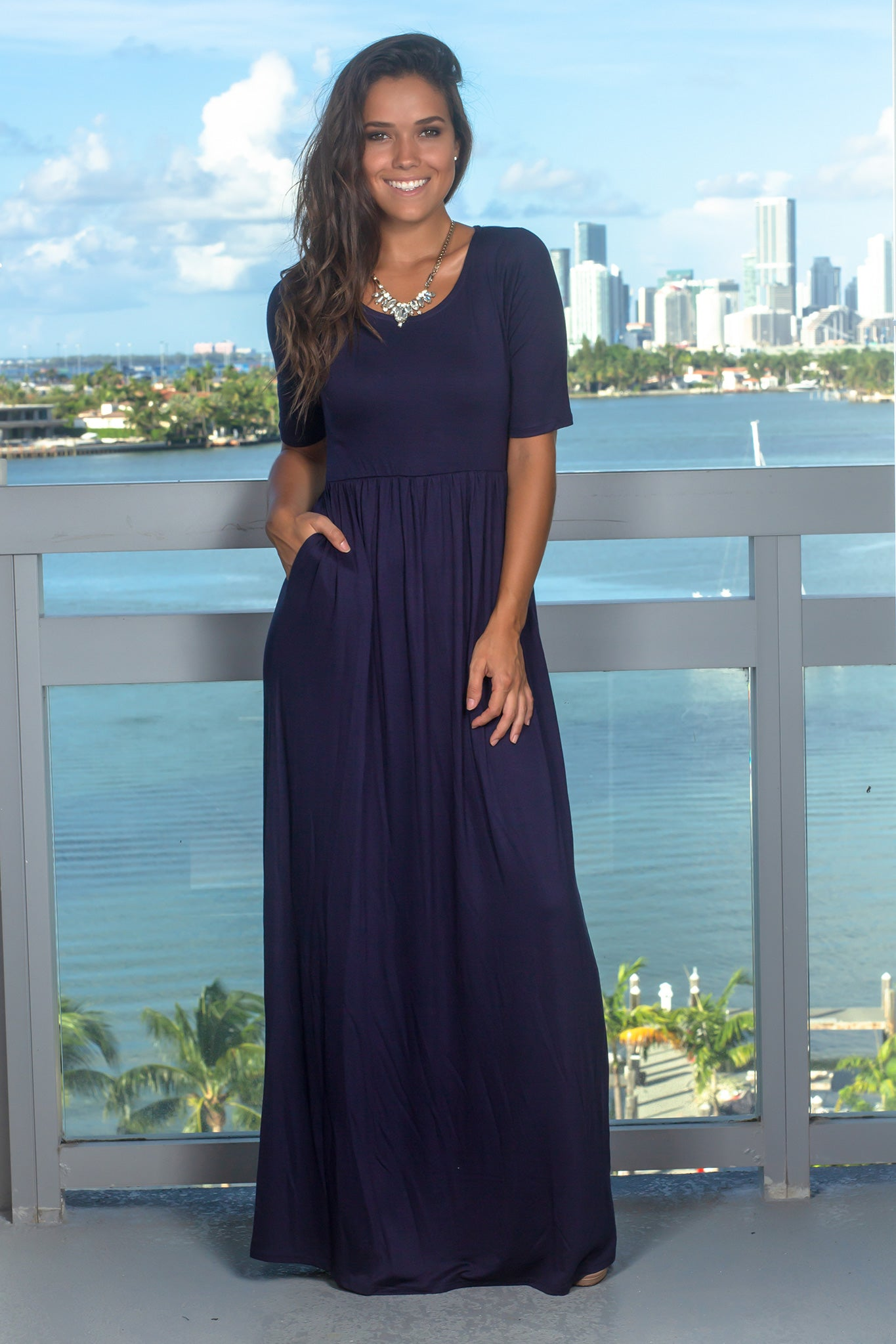 Blue Maxi Dress with 1/2 Sleeves