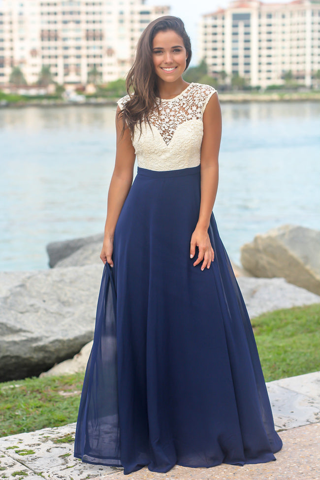 Blue Maxi Dress with Crochet Top