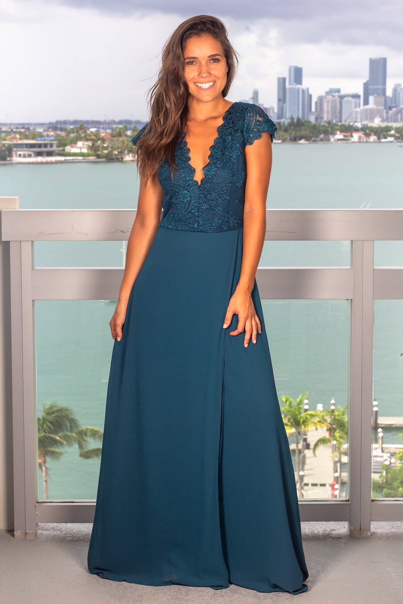 Blue Maxi Dress with Embroidered Top and Slit