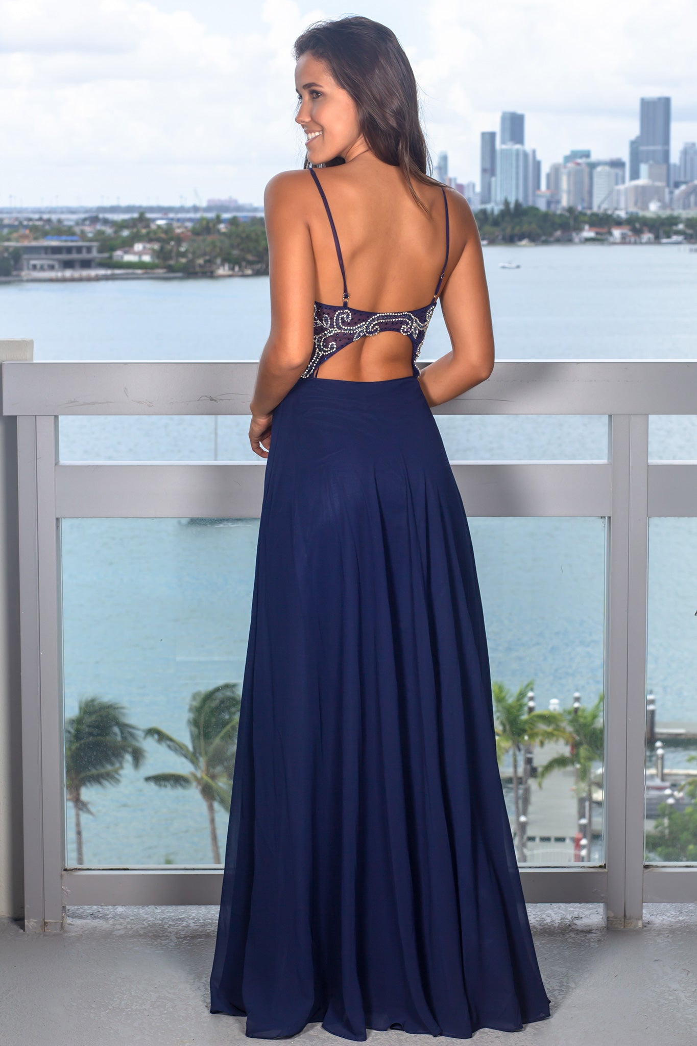 Blue Maxi Dress with Jeweled Top