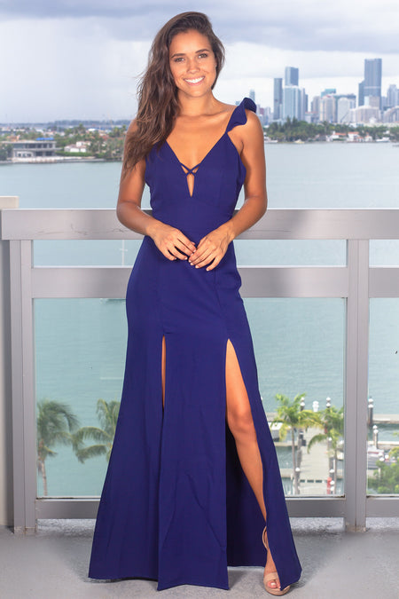 Blue Maxi Dress with Lace Up Back