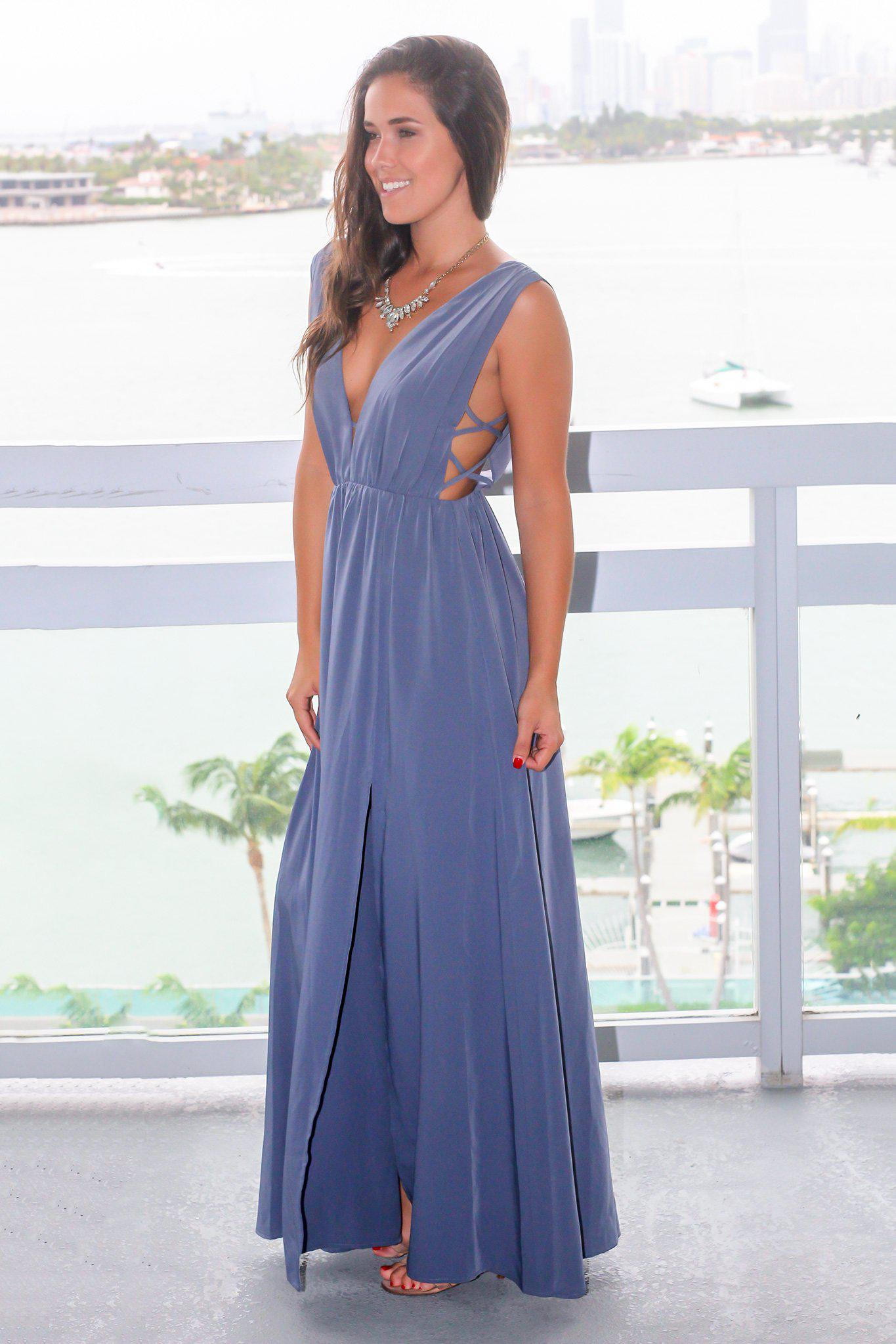 Blue Maxi Dress with Side Cut Outs