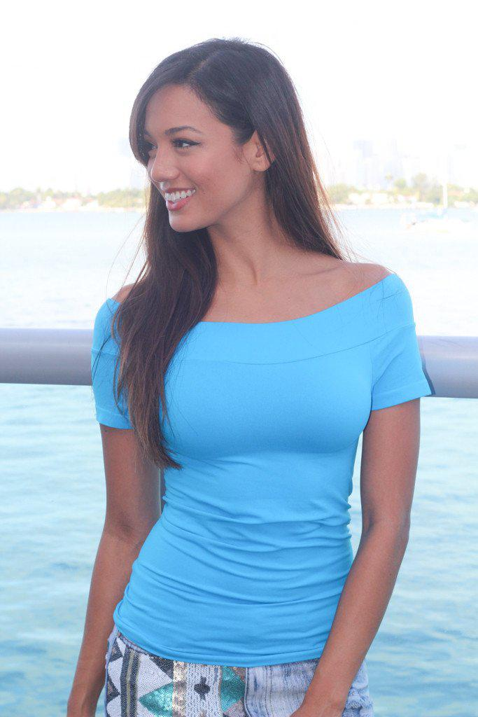 Blue Stretchy Off Shoulder Top