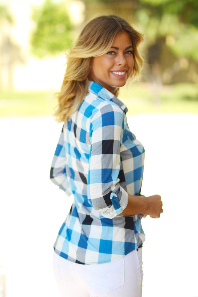 Blue Plaid Top