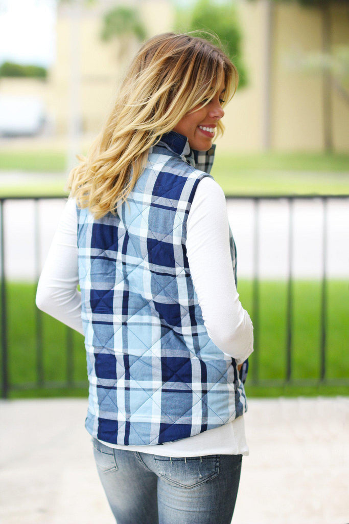 Blue Plaid Vest With Pockets