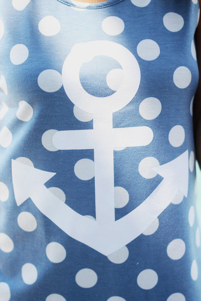 blue polka dot anchor print top