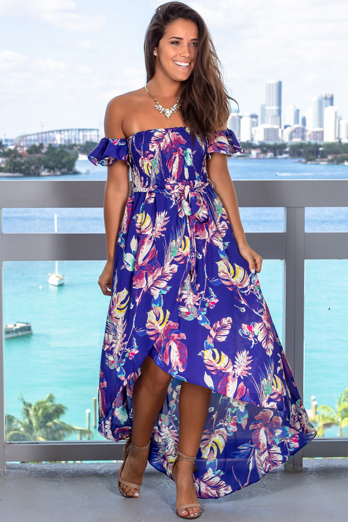 Blue Printed High Low Dress