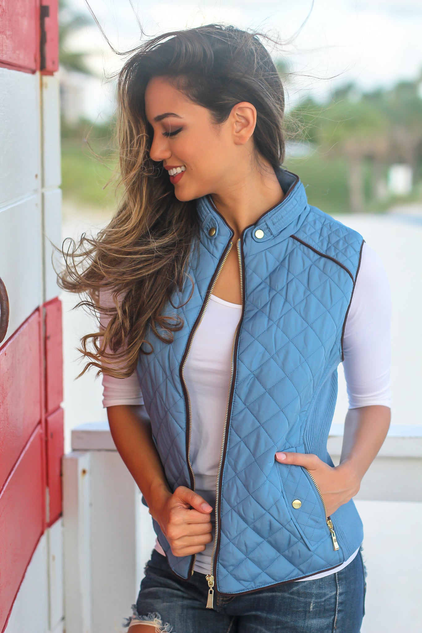 Blue Quilted Vest with Pockets