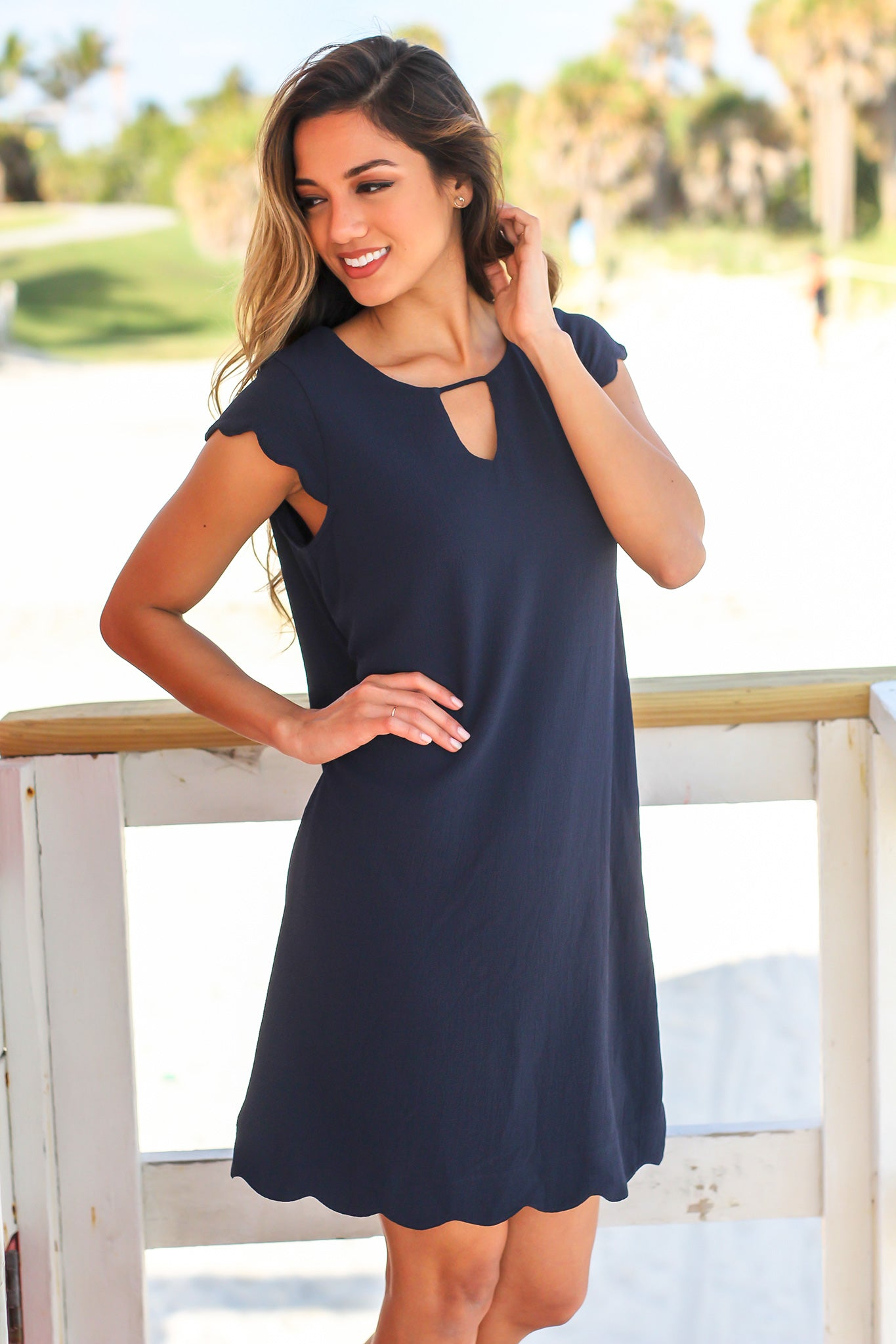 Blue Scalloped Short Dress with Keyhole