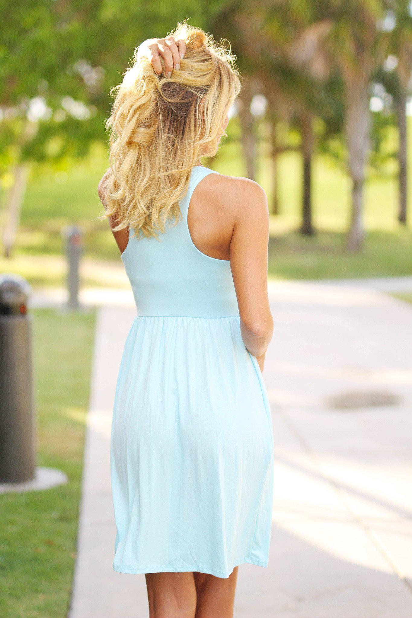 Baby Blue Short Dress with Pockets