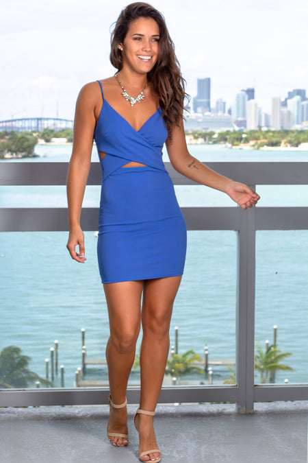 Blue Short Dress with Cut Outs