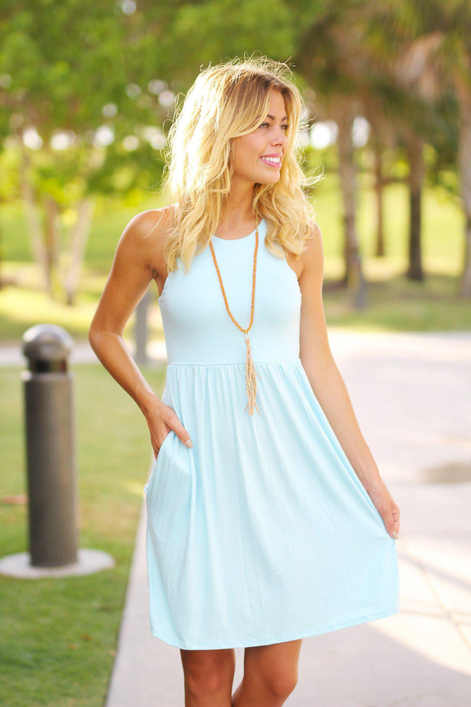 baby blue casual dress