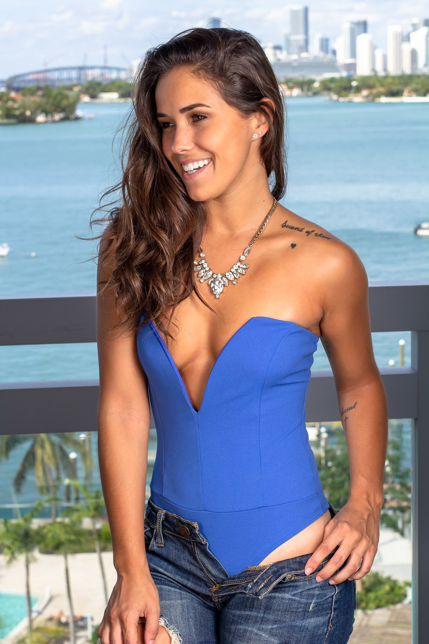Blue Strapless Bodysuit