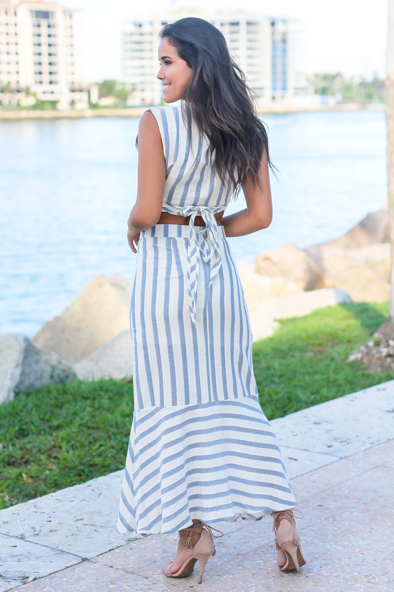 Blue Striped Crop Top and Skirt Set