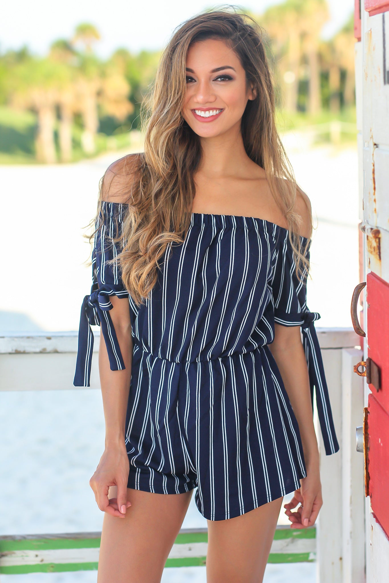Blue Striped Off Shoulder Romper