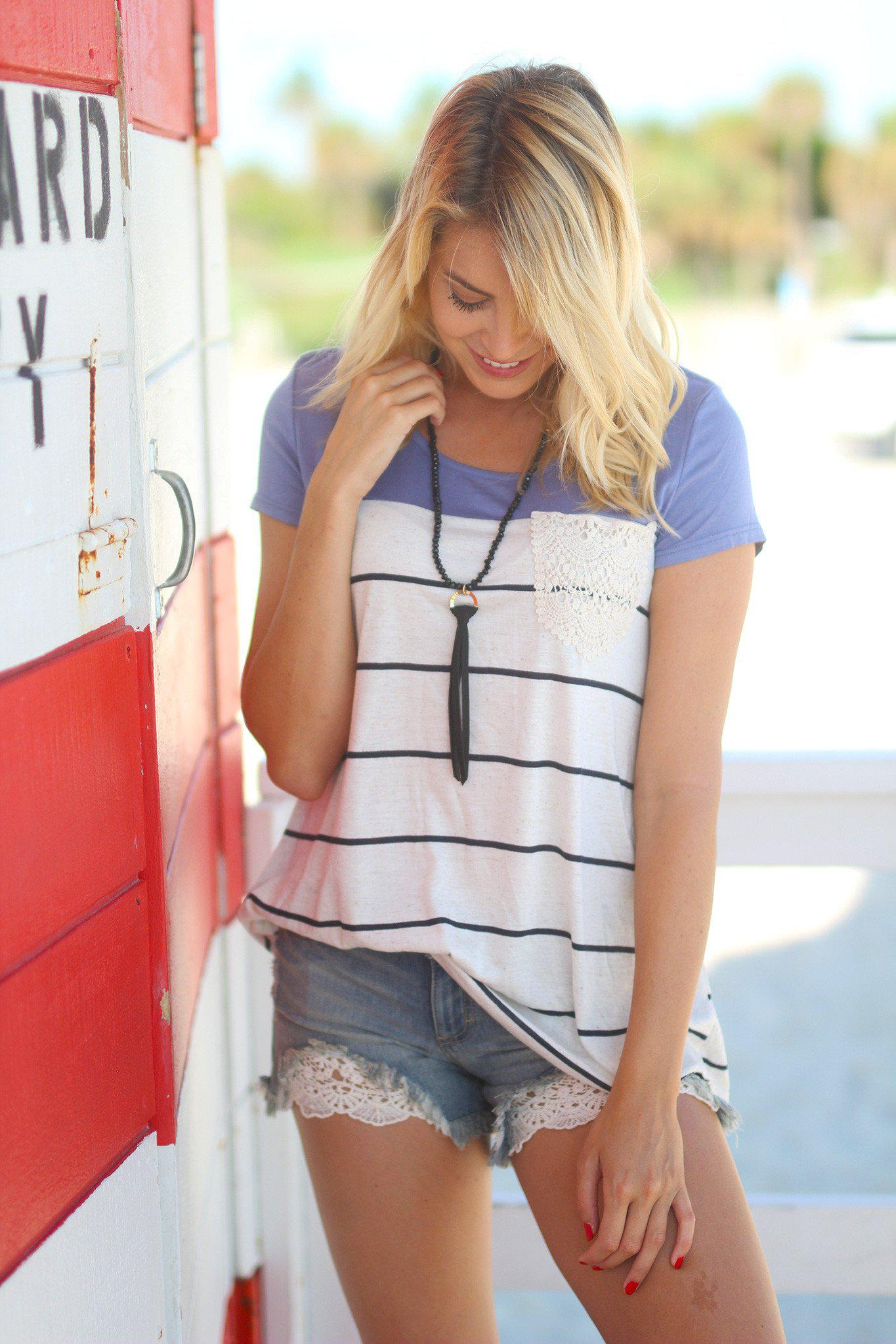 Denim Blue Striped Top with Crochet Pocket
